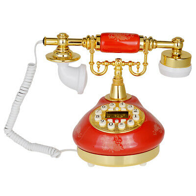Vintage Style Button Ceramic Antique Telephone Dial Desk Phone Home Decor Red