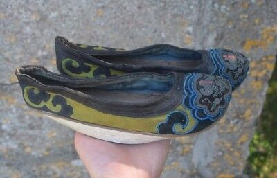 RARE Antique Chinese Qing 19th Century Manchu Women's Silk Embroidered Shoes