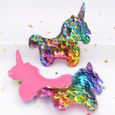 8Pcs Rainbow Padded Unicorn Sequins Embroidery Appliques DIY Crafts Patches