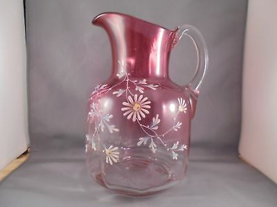 Old Antique Victorian Rubina Glass Water Pitcher w Enamel Daisies