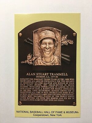 ALAN TRAMMELL -Baseball Hall of Fame- INDUCTION Plaque Postcard- 2018