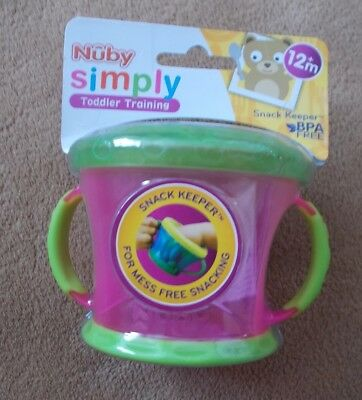 Baby - Nuby Toddler - Snack Keeper Pot - Pink / Green - New