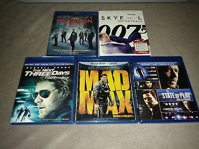 lot 5 blu-ray Mad Max Skyfall Inception State of play The Next Three Days