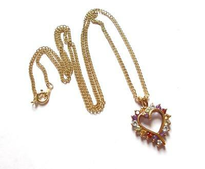 VINTAGE 1970's 925 SILVER GOLD PLATED JEWEL TONE GEMSTONE CRYSTAL HEART PENDANT