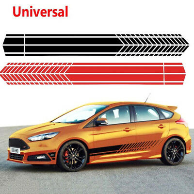 1Pair Universal Sports Racing Stripe Graphic Stickers Truck Car Body Side Door