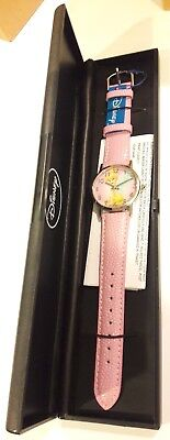 Disney Official Tinkerbell Genuine Pink Leather Watch Tinker Bell