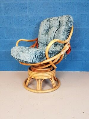 Vintage Retro Mid Century Bamboo Swivel Chairs - Newly Upholstered