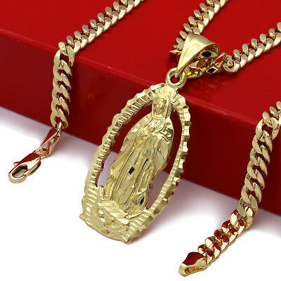 """Mens 18k Gold Plated Hip Hop HOLY MARY  Pendant 5mm 24"""" Cuban Necklace Chain"""