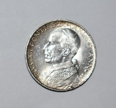 15. Vatican: Pope Pius Xii - 1940 5 Lire Coin - .800 Silver