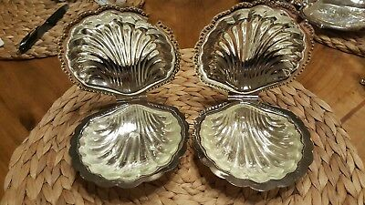 Leonard silverplate Ornate Clam Shell Butter Dish Set Of 2