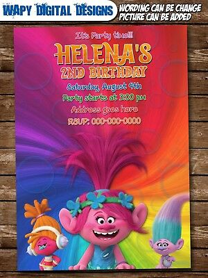 Trolls Moana Mix Digital Party Invitation Personalized Birthday