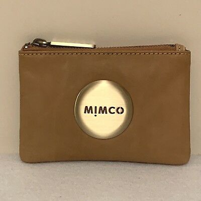 Free Post Mimco Small Mim Pouch Honey Brown Sheepskin Wallet Rrp69.95