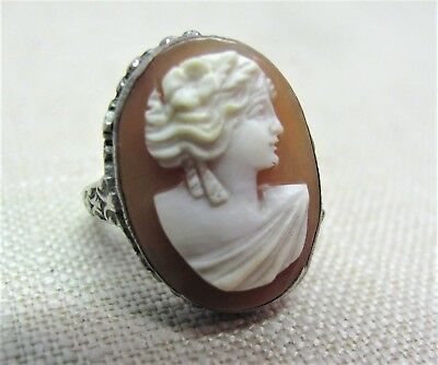 💕 Vintage Filigree Sterling Silver Cameo Ring  Art Nouveau Victorian Antique