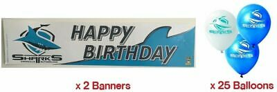 Cronulla Sharks NRL Party Pack 25 Balloons & 2 Happy Birthday Banners
