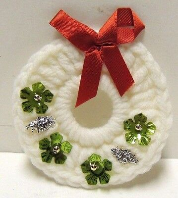 Hand Made WHITE Crocheted Christmas Wreath w/ Green & Silver Ornaments & Red Bow
