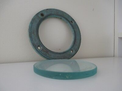 Vintage Brass PORTHOLE Small Heavy Round 145mmx8mm w' Thick 10mm Glass Nautical