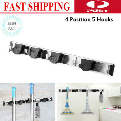 Mop and Broom Holder Rack Wall Mounted Tools Storage Organizer Home Use 5 Hooks