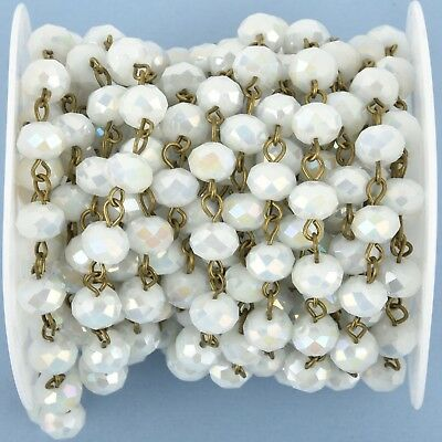 1 yard WHITE AB Crystal Rondelle Rosary Chain, bronze wire, 8mm glass fch0976a