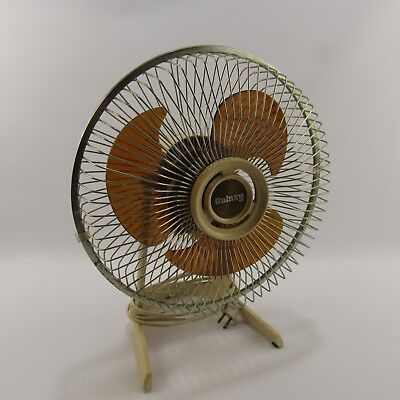 "Galaxy Translucent Brown Blade Table Fan 10"" MCM High Speed Tabletop Tane Beige"