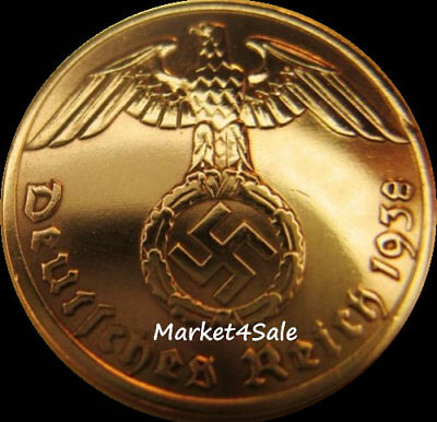 1 Reichspfennig 24 K GOLD plated original WW2 coin from Nazi Germany goldplated
