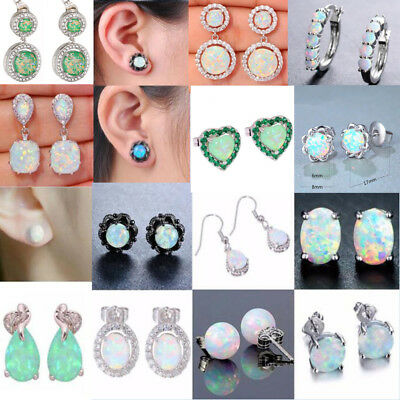 925 Silver Filled White Fire Opal Ear Stud Earrings Engagement Wedding Jewelry
