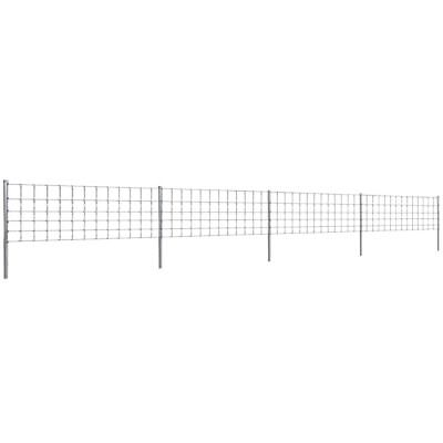 vidaXL Step-In Fence 50m with Post Galvanized Wire Fences Panel Multi Sizes