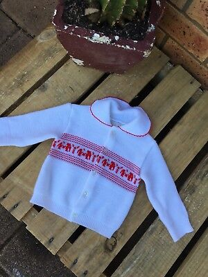 Vintage Baby Size 0 Knitted Cardigan Peter Pan Collar Retro Unisex