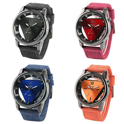 Triangle Dial Women Men Quartz Wrist Watch Nylon Strap Military Amry Watches