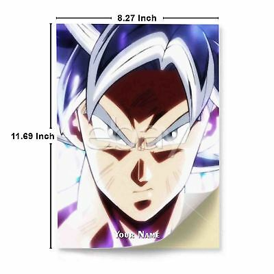 Goku Ultra Instinct Mastered A4 Glossy Stickers Wall Sticker Decals Art Print