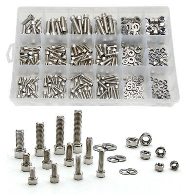 345Pcs Stainless Steel Inner Hexagon Bolt Nuts Washers M5-M8 Fixing Kit with Box