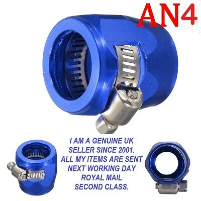 AN -4  6-12mm OD Braided Fuel Hose Line End Cover Clamp Finisher Fitting BLUE.