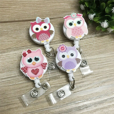 1PC Owl Nurse Retractable Pull Key Clip ID Badge Office Card Holder Reel for Bus