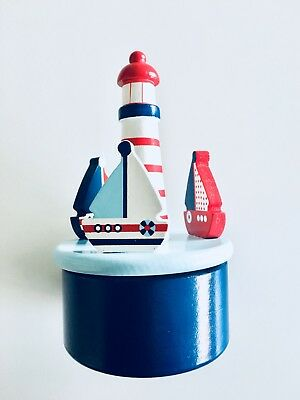 Blue Boat Carousel Music Box Boy Gift Baby Shower Piano Lullaby Nautical Sailor