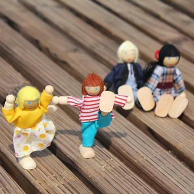 Wooden Furniture Dolls House Family Miniature 6 People Set Doll For Kid Child