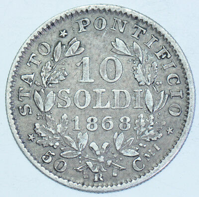 Italy Papal States, 10 Soldi, 1868-Xxiii, Rome Mint Silver Coin Vf+