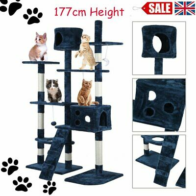 Cat Tree Scratching Post Activity Centre Scratcher 177cm Height + Toys Bed Blue