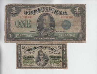 Canada Paper Money two old note lower grade