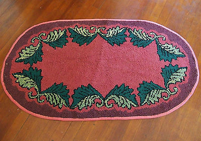 Old Oval Folk Art Hooked Throw Rug Hand Made Vintage Primitive Country Cottage