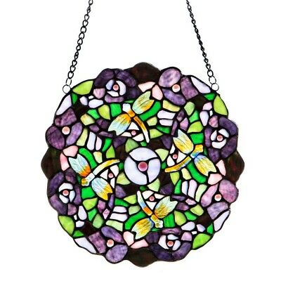 Hanging Stained Glass Purple Pansy Window Panel Art Flower Garden Hand-cut
