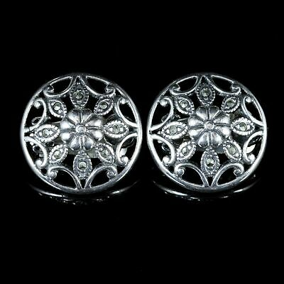Marcasite Floral Clip On Earrings Silver