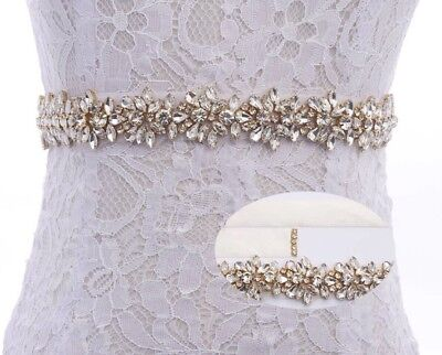 Bridal Wedding Bridesmaid Dress Sash Gold Crystal Rhinestone Appliqué Waist Belt