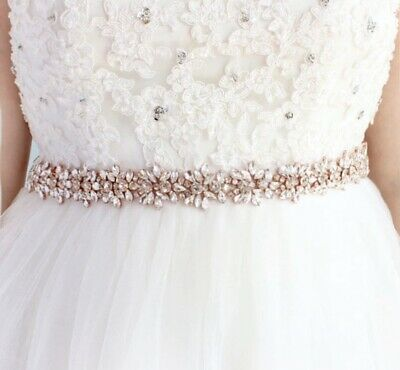 Bridal Wedding Bridesmaid Dress Sash Rose Gold Crystal Rhinestone Appliqué Belt