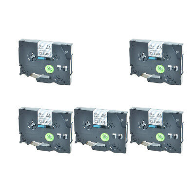 """5PK TZ131 TZe131 Black on Clear Label Tape For Brother P-Touch PT-2310 1/2"""" 12mm"""