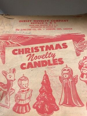 5 Never Used Gurley Christmas POINSETTIA  Candles in Original Store Display Box-