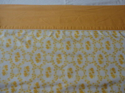 Vintage 1970's Cannon Queen Size Muslin Flat Sheet Gold Floral Print