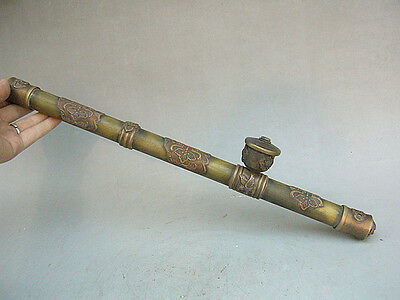 "17""Chinese folk old antique collection pure bronze copper Smoking pipe"
