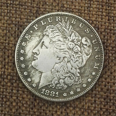 1881 Morgan Coin One Dollar American Eagle Coin Silver Color Commemorative