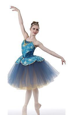 Keepsake Dance Costume Romantic Ballet Ballerina Blue and Gold Tutu Child Medium