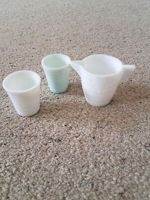 3 vintage Akro Agate art deco white  child's dishes pitcher cups
