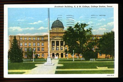 Texas Postcard:  Academic Building, And M College, College Station, Texas